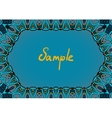 Hand drawn frame in indian style dominate blue vector image vector image