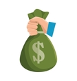 hand hold bag of money dollar icon vector image