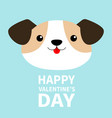 happy valentines day dog face head round icon vector image