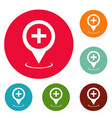 hospital map pointer icons circle set vector image vector image