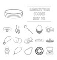 jewelry and accessories set icons in outline style vector image