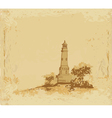 lighthouse seen from a tiny beach - Grunge Poster vector image vector image