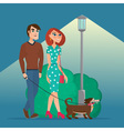 man and woman walking with a dog creative color vector image