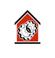 Manufactory conceptual symbol house with 3d cog vector image