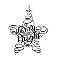 merry and bright new year lettering in form of vector image vector image