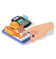 order food with phone isometric vector image vector image