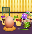 Painting Easter eggs on table vector image