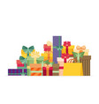 pile colorful gift or present boxes with ribbon vector image vector image