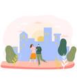 romantic couple in city happy people in love vector image vector image