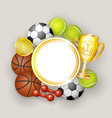 round frame sport balls dumbbells medal and cup vector image vector image