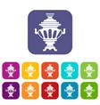 russian tea samovar icons set vector image