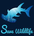 Save Wildlife poster with whaleshark vector image
