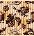 seamless pattern with cocoa fruits monochrome vector image vector image