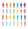 set cartoon people colored outline shapes vector image vector image