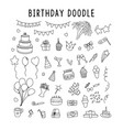 set element doodle decoration birthday set of vector image vector image