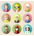 Set of circle flat icons with people vector image