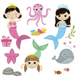 Set of cute girl mermaids vector image