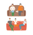 smiling people sitting on couch with dog pet vector image vector image