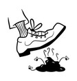 step in dog poop with shoe vector image vector image