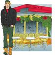 stylish guy in Paris vector image
