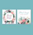 templates with flowers design for card vector image vector image