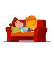 tired little girl sleeping on the couch next to vector image vector image
