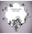 Vintage Floral Card with Violets and Butterflies vector image vector image