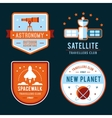 Vintage space and astronaut badges or labels set vector image vector image