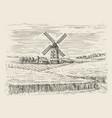 wheat field and windmill sketch farm landscape vector image