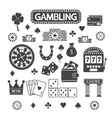 Gambling silhouette icons set vector image