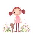 Little girl with her teddy bear vector image