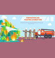 poster of firefighters fighting forest fire vector image
