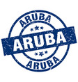 aruba blue round grunge stamp vector image vector image