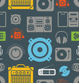 Audio equipment icons color seamless pattern vector image vector image
