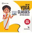 banner design of online yoga classes vector image
