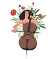 beautiful girl playing cello surrounded by vector image
