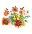 Beautiful watercolor colorful flowers on white vector image vector image