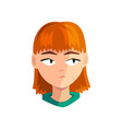 bored redhead girl female emotional face avatar vector image vector image