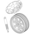 brake disc wheel and shock absorber on a white vector image vector image