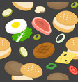 burger bun and ingredient such as meat ham vector image