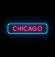 chicago neon sign bright light signboard banner vector image vector image