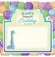 Childrens greeting background with blue giraffe vector image vector image