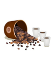 Coffee Beans Dropped from A Pail with Hot Coffee vector image vector image