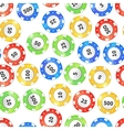Colorful casino chips on white seamless pattern vector image