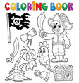 coloring book pirate thematics 1 vector image vector image