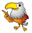 cute eagle mascot pointing vector image