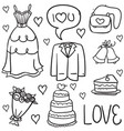 doodle of wedding object vector image vector image