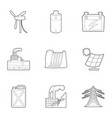 energy resource icons set outline style vector image