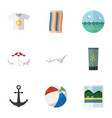 flat icon beach set of deck chair clothes ocean vector image vector image