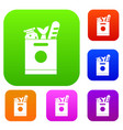 grocery bag with food set collection vector image vector image